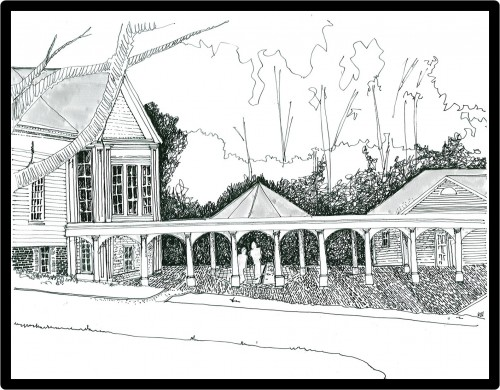 Master plan sketch 2007 - This included two competing versions; rear addition and a total facade shift to the front of the grounds. Finally ending up with 